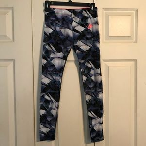 NIKE Kid's Large Blue White Polka Dot Leggings